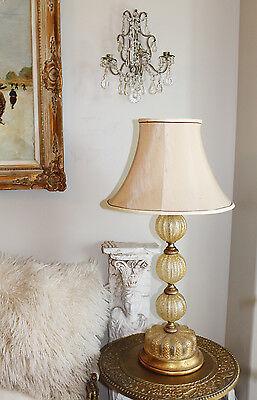 Antique Rare Barovier & Toso Murano Glass Lamp w/Shade Control Bubbles