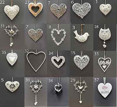 Vintage Style Shabby & Chic Wedding Hanging Hearts Heart Home Decoration Gift 7