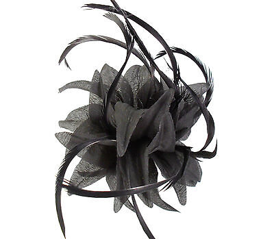 Black Fabric Flower Fascinator with Feathers - Wedding Races Hair Clip Corsage 2
