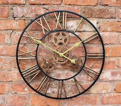 Large Metal Skeleton Wall Clock Antique gold Home Decor Round 58cm Indoor & Out 9