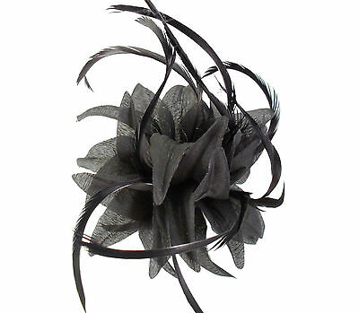 Black Fabric Flower Fascinator with Feathers - Wedding Races Hair Clip Corsage 4