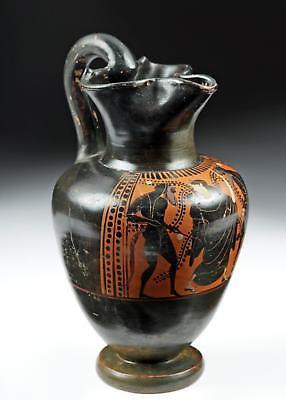 Greek Attic Black Figure Oinochoe - Satyrs & Maenad Lot 20C