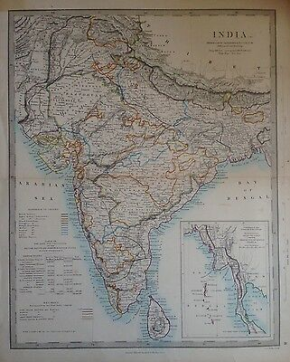 1858 Edward Stanford Steel Engraved Hand Coloured Map - India / 17.5 X 13.75
