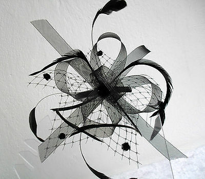 Black Looped Net Mesh and Feather Fascinator with Comb Fitting 3