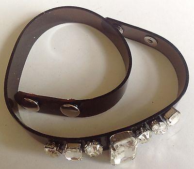 bracelet ou  collier moderne noir cristaux diamant deux tours de poignet 3526