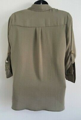 NEW ex DP Khaki Green Button Up Collared Casual Loose Fit Blouse Shirt Top 8-16 6