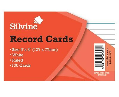 Silvine Record Cards Revision/Flash White/Ruled or Coloured for school/office 2
