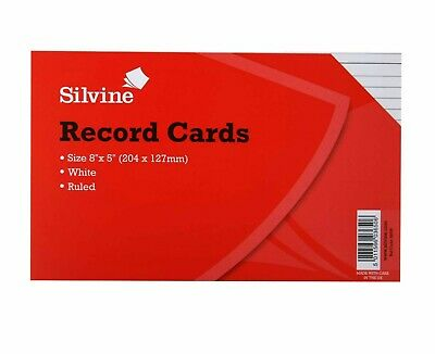 Silvine Record Cards Revision/Flash White/Ruled or Coloured for school/office 4