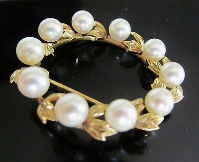 14K Gold White Cultured Pearl Diamond Cut Leaves Circlet Circle Wreath Brooch 4