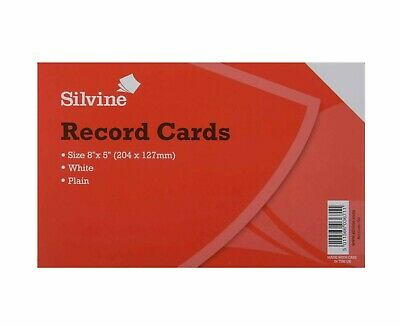 Silvine Record Cards Revision/Flash White/Ruled or Coloured for school/office 5