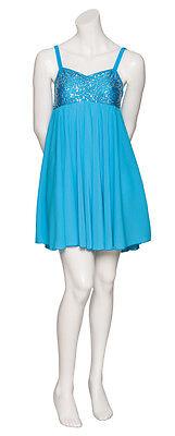 Blu Turchese Lustrini Corto Lirico Abito Contemporaneo Balletto Danza Costume 8