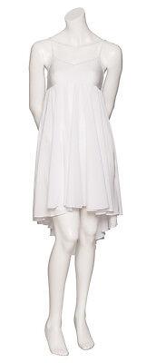 Donne Ragazze Bianco Tinta Unita Lirico Abito Contemporaneo Balletto Danza 4