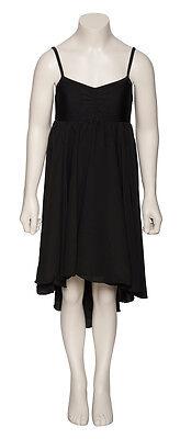 Ladies Girls Black Plain Lyrical Dress Contemporary Ballet Dance Costume By Katz 8