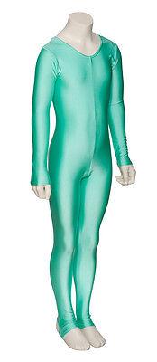 Ladies Girls Mint Green Ballet Dance Gym Long Sleeve Catsuit Lycra KDC012 Katz 3