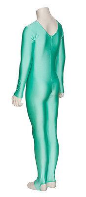 Donne Ragazze Verde Menta Balletto Danza Gym Tutina A Maniche Lunghe Lycra 4