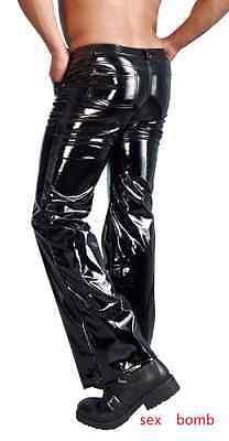 Sexy Pantaloni Neri Vinile Jeans 5 Tasche Zip Nascosta S/M/L/XL Fashion GLAMOUR 2