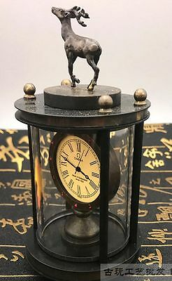 Asian collection of old handmade copper carved deer mechanical watch 8
