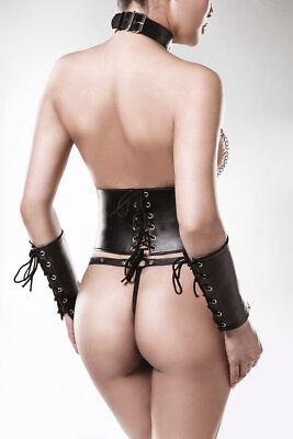 Completo Intimo Donna Sexy Hot Lingerie Ecopelle bustino corsetto Set erotico 3