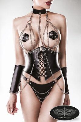 Completo Intimo Donna Sexy Hot Lingerie Ecopelle bustino corsetto Set erotico 2