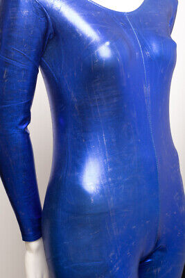 Royal Blue Shiny Metallic Dance Catsuit Unitard Katz Dancwear KDC011 SECONDS 5