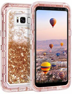 Samsung Galaxy S8 Plus Note 9 8 Liquid Glitter Defender Case Clip Fits Otterbox