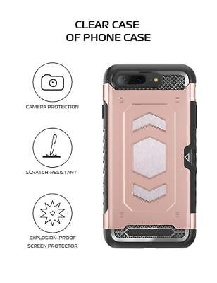 Fits iPhone X/7/8/Plus Rugged Hybrid Magnetic Shockproof Card Holder Case Cover