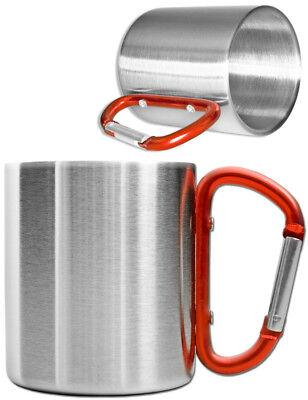 Thermobecher Doppelwandig Becher 200 ml Coffee to go Becher Karabiner-Griff