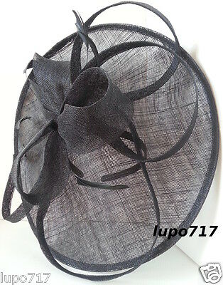 Big Black Sinamay Feather Hat Fascinator Wedding Ascot Race Hen Party Ladies Day 8
