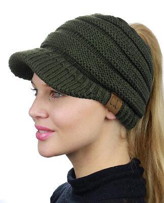 e08268e78 NEW! CC BEANIETAIL Warm Knit Messy High Bun VISOR CC Ponytail Beanie Cap