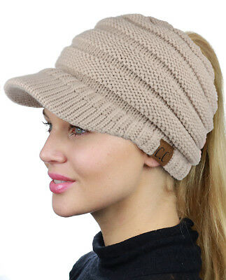 e02877d90f2cf NEW! CC BEANIETAIL Warm Knit Messy High Bun VISOR CC Ponytail Beanie ...