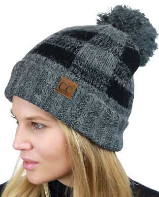 6f992aa1551 CC Beanie Soft Stretch Pom Pom Fuzzy Lined Buffalo Plaid Cuff Beanie Hat 2