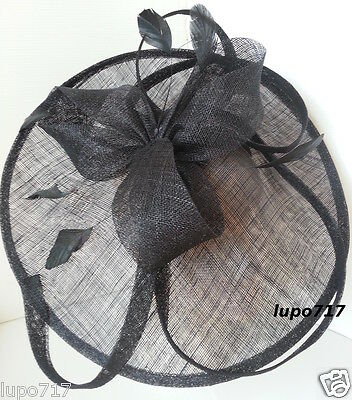 Big Black Sinamay Feather Hat Fascinator Wedding Ascot Race Hen Party Ladies Day 4