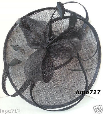 Big Black Sinamay Feather Hat Fascinator Wedding Ascot Race Hen Party Ladies Day 7
