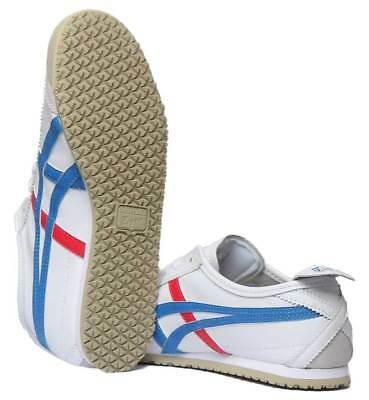 Onitsuka Tiger Mexico 66 Womens Soft Leather Trainers In White Blue Size UK 3 - 4