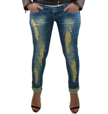 af847566f66274 ... Jeans donna pantaloni slim fit skinny strappati vita bassa 40 42 44 46  48 RDV 9
