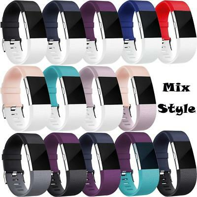 Replacement Watch Strap Band Metal Buckle Wristband Silicone For FitBit Charge 2 12