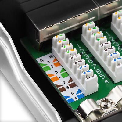 deleyCON CAT6 Patchpanel 8 Port Netzwerk Verteilerfeld geschirmt LSA Lichtgrau