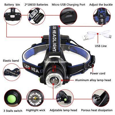 450000Lumen T6 LED Zoomable Headlamp USB Rechargeable 18650 Headlight Head Light 2
