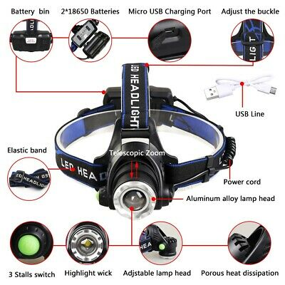 650000Lumen T6 LED Zoomable Headlamp USB Rechargeable 18650 Headlight Head Light 2