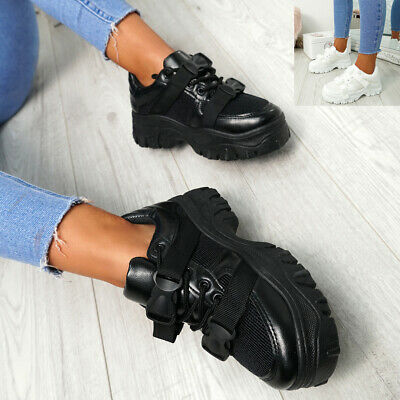 Womens Ladies Buckle Chunky Trainers Platform Sneakers Party Casual Shoes Size 2