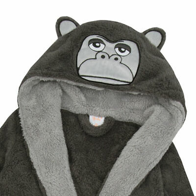New Boys Novelty Gorilla Panther Robe Hooded Soft Fleece Dressing Gown Xmas Gift 4