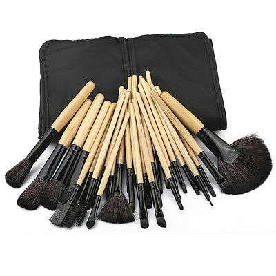 32pc Purple Professional Soft Cosmetic Eyebrow Shadow Makeup Brush Set +Bag Case