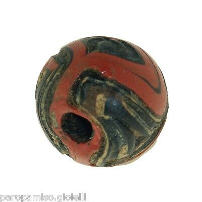 Early Islamic folded Glass Bead large size. (0429) 8
