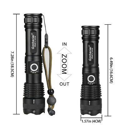 900000 Lumens Zoomable XHP50 5 Modes LED USB Rechargeable 18650 Flashlight Torch 10