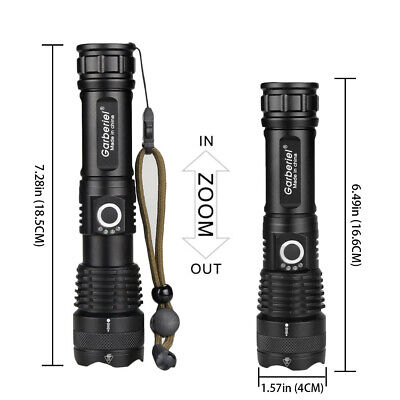 Powerful 900000Lumens XHP50 LED 18650 Zoom Flashlight USB Rechargeable Torch UK 10
