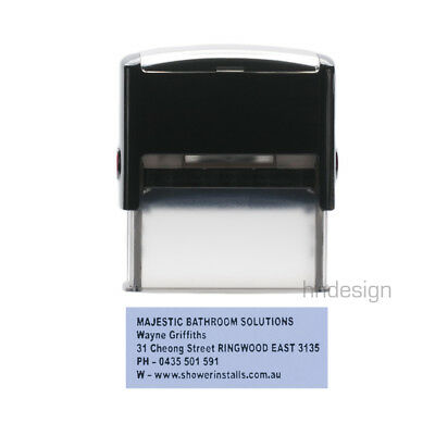 Personalised Self Inking Rubber Stamp Custom Business Name Address LARGE 2