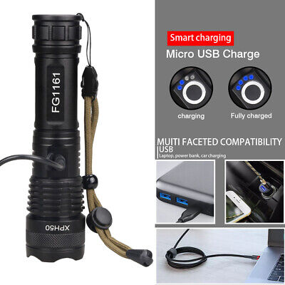 500000 Lumens Zoomable XHP50 5 Modes LED USB Rechargeable 18650 Flashlight Torch 7