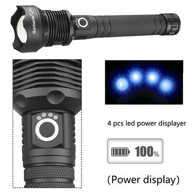 990000LM xhp90 xhp70 xhp50 Ultra Bright LED 18650 Rechargeable Zoom Flashlight 7
