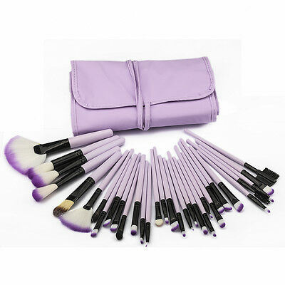 32pc Purple Professional Soft Cosmetic Eyebrow Shadow Makeup Brush Set +Bag Case 10