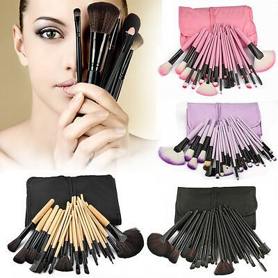 32pc Purple Professional Soft Cosmetic Eyebrow Shadow Makeup Brush Set +Bag Case 2
